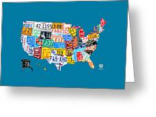License Plate Map Of The Usa On Royal Blue Greeting Card