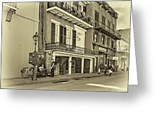 Life In The Quarter - Antique Sepia Greeting Card