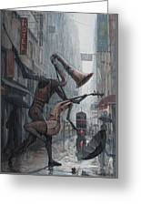 Life Is  Dance In The Rain Greeting Card