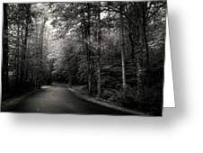 Light And Shadow On A Mountain Road In Black And White Greeting Card