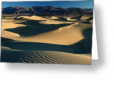 Light And Shadows In The Mesquite Sand Dunes Of Death Valley Greeting Card