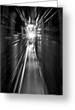 Light At The End Of The Tunnel 1 - Black And White Greeting Card