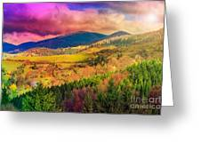 Light  Beam Falls On Hillside With Autumn Forest In Mountain Greeting Card