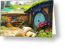 Light Blue Hobbit Door Greeting Card