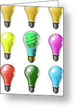 Light Bulbs Of A Different Color Greeting Card