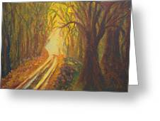 Light Down The Road Greeting Card