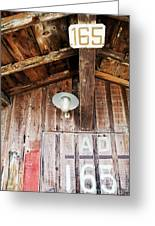 Light Hanging Inside An Old Wooden Hut Greeting Card