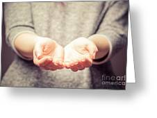Light In Young Woman's Hands Greeting Card