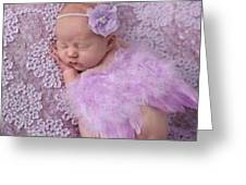 Light Lavender Feather Wings With Flower Headband Greeting Card