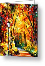 Light Of The Forest - Palette Knife Oil Painting On Canvas By Leonid Afremov Greeting Card
