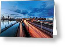 Light Trails Along Willamette River Greeting Card