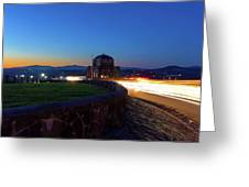 Light Trails Around Vista House On Crown Point Greeting Card