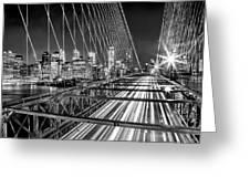 Light Trails Of Manhattan Greeting Card