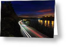 Light Trails On Highway 99 Greeting Card