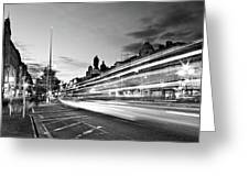 Light Trails On O'connell Street At Night - Dublin Greeting Card