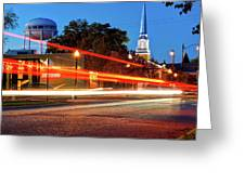Light Trails In Front Of Bentonville Record And Water Tower Greeting Card