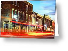 Light Trails Through The Rogers Arkansas Panoramic Skyline Greeting Card by Gregory Ballos