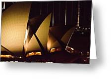 Light Up Sail Of Opera House  Greeting Card