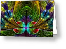 Lighted Flower Fractal Greeting Card