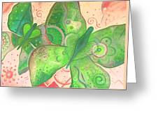 Lighthearted In Green On Red Greeting Card