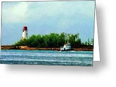 Lighthouse And Boat Nassau Bahamas Greeting Card
