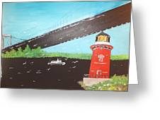 Lighthouse And Bridge Greeting Card