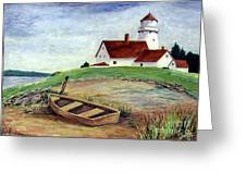 Lighthouse And Dinghy Greeting Card