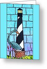 Lighthouse And Heron Greeting Card