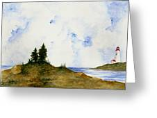 Lighthouse And Pine Trees Greeting Card