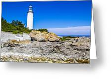 Lighthouse And Rocks Greeting Card
