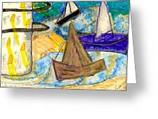 Lighthouse And Sailboats Greeting Card