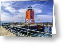 Lighthouse At Charlevoix South Pier  Greeting Card