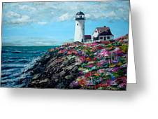 Lighthouse At Flower Point Greeting Card