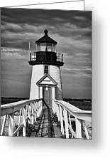 Lighthouse At Nantucket Island II - Black And White Greeting Card by Hideaki Sakurai
