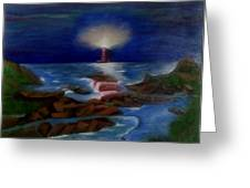 Lighthouse At Night Greeting Card