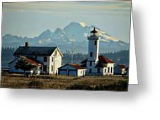 Lighthouse Before Mountain Greeting Card