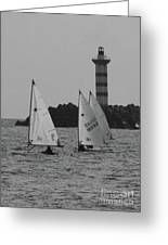Lighthouse Boats Greeting Card