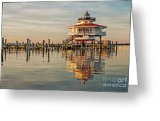 Lighthouse Glow And Reflection  Greeting Card