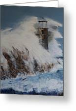Lighthouse In A Storm Greeting Card by David Hawkes