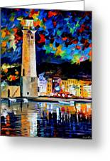 Lighthouse In Crete - Palette Knife Oil Painting On Canvas By Leonid Afremov Greeting Card