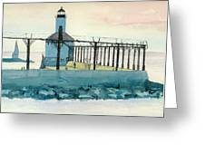 Lighthouse In Michigan City Greeting Card by Lynn Babineau