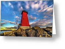Lighthouse Manistique Sunset -5350 Greeting Card
