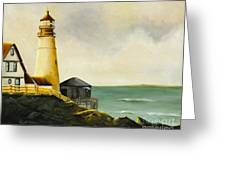Lighthouse In Oil Greeting Card