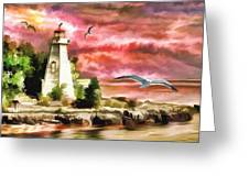 Lighthouse, Ocean, Sunset Greeting Card