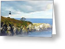 Lighthouse On A Jetty. Greeting Card