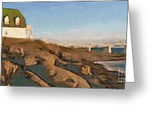 Lighthouse On The Ocean Greeting Card