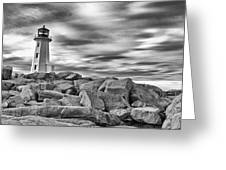 Lighthouse Peggys Cove - Black And White Greeting Card