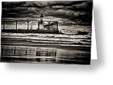 Lighthouse Reflections In Black And White Greeting Card