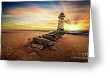 Lighthouse Sunset Wales Greeting Card
