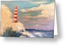 Lighthouse Under Lavender Sky Greeting Card